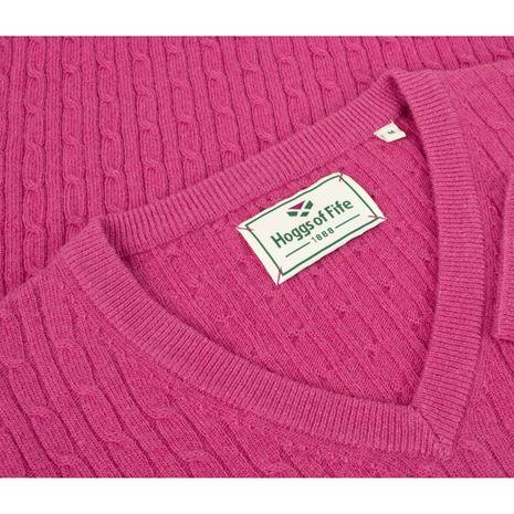 Hoggs of Fife Lauder Ladies Cable Pullover- Cerise