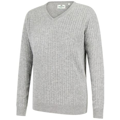 Hoggs of Fife Lauder Ladies Cable Pullover- Grey
