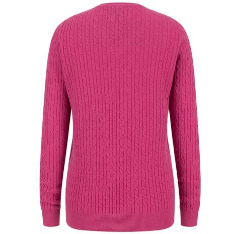 Hoggs of Fife Lauder Ladies Cable Pullover - Cerise