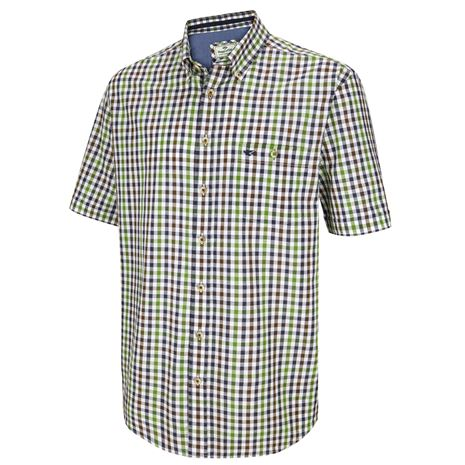 Hoggs of Fife Aberdour Short Sleeve Check Shirt - Navy Green Check