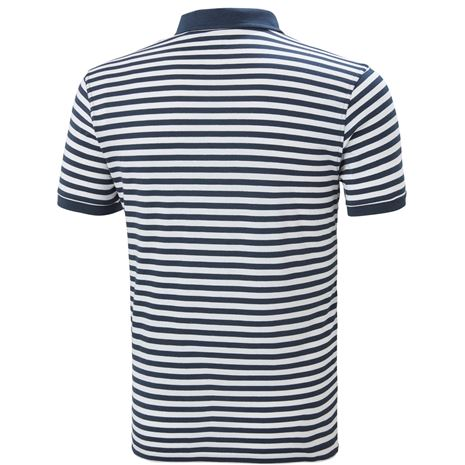 Helly Hansen Fjord Polo Shirt - Navy Stripe - Rear