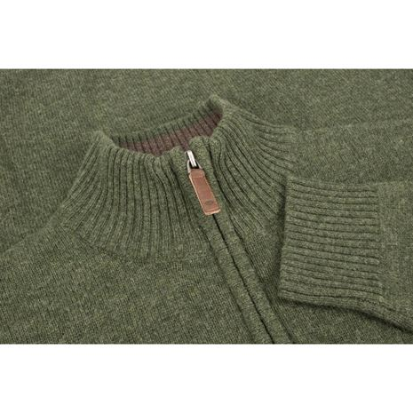 Hoggs of Fife Lothian ¼ Zip Neck Pullover - Thyme