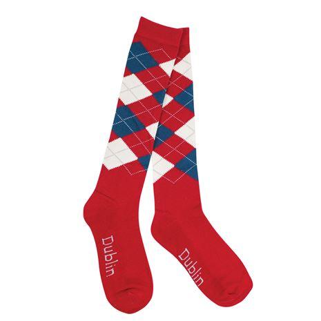 Dublin Argyle Socks -  Red/Navy/White.
