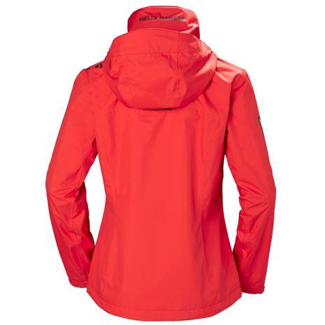 Helly Hansen Womens Crew Hooded Jacket - Alert Red - Rear