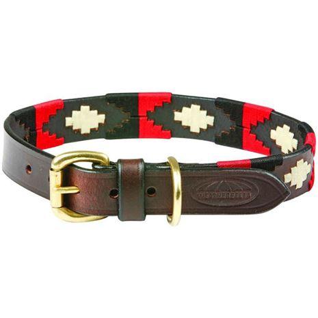 WeatherBeeta Polo Dog Collar-Cowdray Brown , Black, red, White