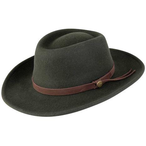 Hoggs Of Fife Perth Crushable Felt Hat - Olive