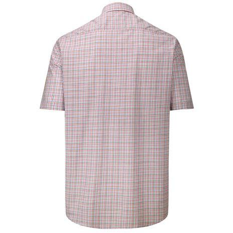 Hoggs of Fife Muirfield Short Sleeve Shirt - Red Blue - Rear