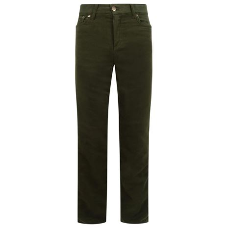Hoggs of Fife Ladies Straight Leg Stretch Moleskin Jeans - Dark Olive