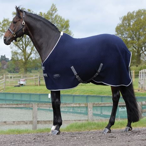 WeatherBeeta Thermic Quilt Standard Neck Cooler Rug -  Navy/Grey/White