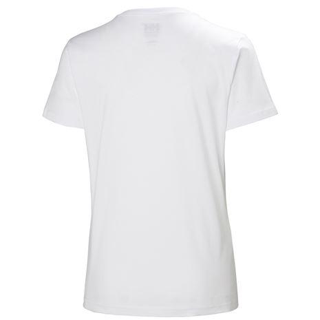 Helly Hansen Womens HH Logo T Shirt - White Blue Logo - Rear