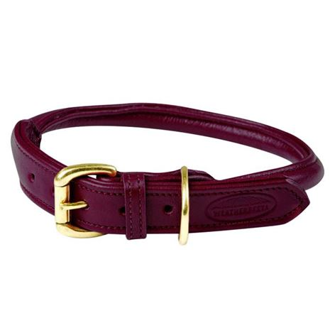WeatherBeeta Rolled leather Dog Collar- Maroon