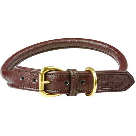 WeatherBeeta Rolled leather Dog Collar - Brown